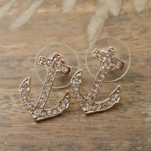 Gold Plated Rhinestone Anchor Earrings